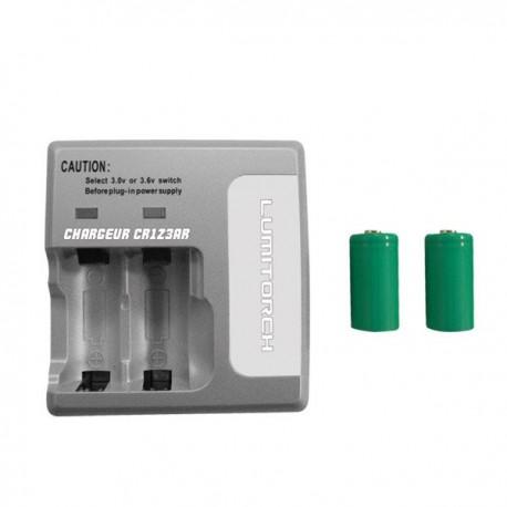 Cargador doble CR123A , alimentador 230v, 2 pilas 800mAh 3v incluidas.