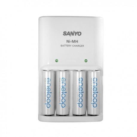 CHARGEUR ENELOOP SANYO + 4 piles AA 2500mAh ENELOPP et alimentation 230V (emballage blister)