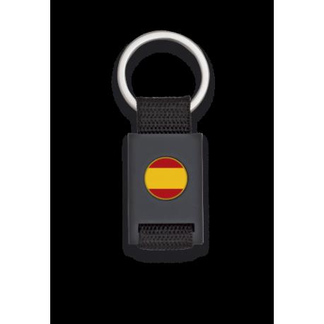 Llavero rectangulo negro + cinta negra ESPAÑA