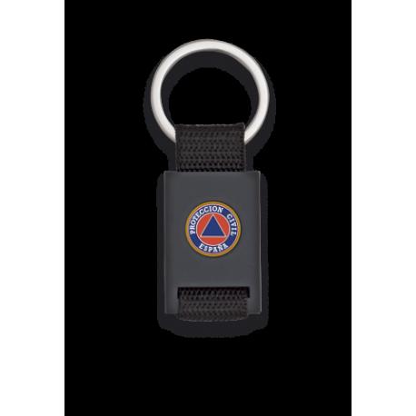 Llavero rectangulo negro + cinta negra PROTECCION CIVIL