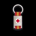 Llavero rectangulo plata + cinta bandera CRUZ ROJA