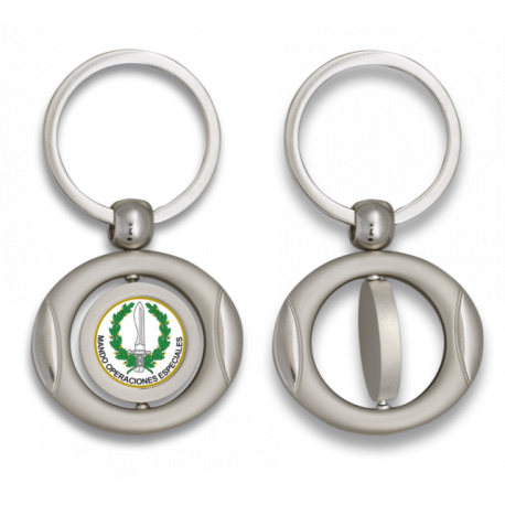Llavero oval giratorio con chapa MOE