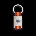 Llavero rectangulo plata + cinta bandera SANITARIO
