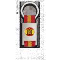 Llavero rectangulo plata + cinta bandera ESPAÑA ESCUDO
