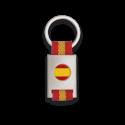 Llavero rectangulo plata + cinta bandera ESPAÑA