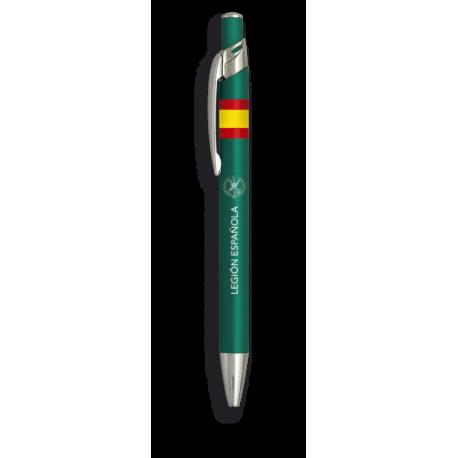 Boligrafo aluminio color verde. Legion