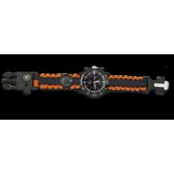 Reloj con paracord . brujula pedernal