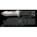 K25.Cuchillo tac.negro. Pedernal. H:14.6